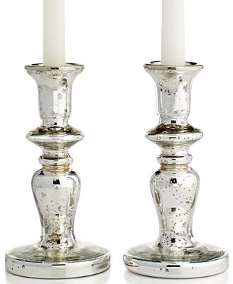 CLOSEOUT! Martha Stewart Collection Candle Holders, Mercury Glass Tapers