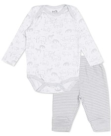 Earth by Baby Boys 2-Pc. Animal-Print Bodysuit & Striped Leggings Set