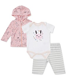 Earth by Baby Girls 3-Pc. Bunny-Print Hoodie, Bunny Bodysuit & Striped Capris Set