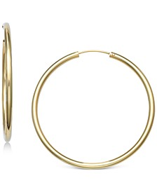 "Small Endless Hoop Earrings in 18k Gold-Plated Sterling Silver, 1"", Created for Macy's"