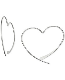 Wire Heart Threader Earrings in Sterling Silver, Created for Macy's