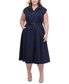 Plus Size Belted Poplin Midi Shirtdress