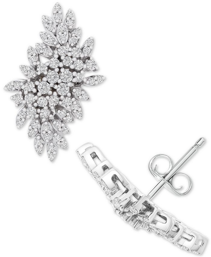 Wrapped in Love - Diamond Cluster Statement Earrings (1 ct. t.w.) in 14k White Gold