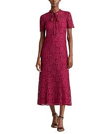 Lace Tie-Neck Dress