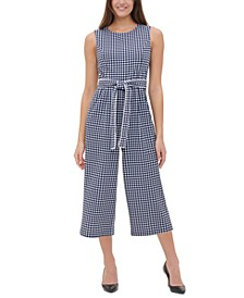 Gingham-Print Cropped Jumpsuit