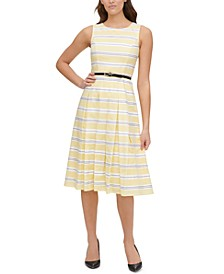 Striped Cotton Belted Fit & Flare Dress