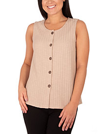NY Collection Textured Sleeveless Blouse