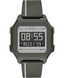 Men's Digital Olive Green  Polyurethane Strap Watch 44mm