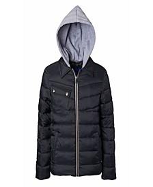 Big Boys Quilted Jacket with Fleece Hood