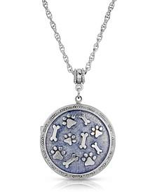 Silver Tone Enamel Round Paw and Bones Necklace
