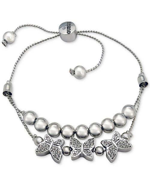 GUESS Silver-Tone Bead & Pavé Butterfly Double-Row Slider
