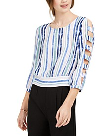 Juniors' Striped Lattice-Sleeve Top