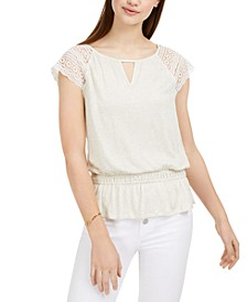 Juniors' Crochet-Trim Keyhole Top