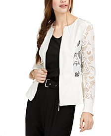 Juniors' Solid & Lace-Trim Zip Jacket