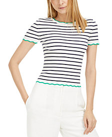 Maison Jules Striped Wavy-Trim Sweater, Created for Macy's