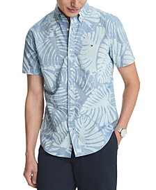 Men's Custom-Fit Walker Leaf Print Short Sleeve Shirt