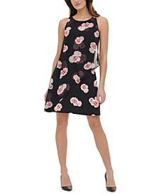 Petite Floral-Print Chiffon-Overlay Dress