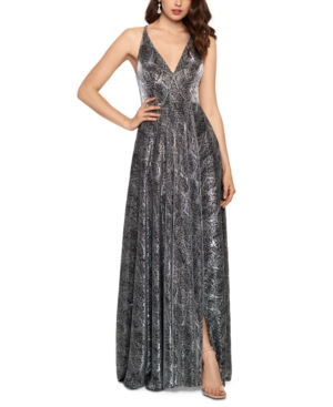 Metallic Python-Print Ball Gown