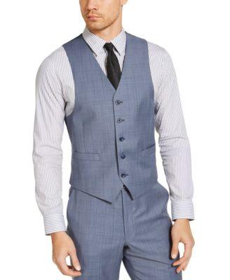 Men's Classic-Fit Airsoft Stretch Light Blue Windowpane Suit Separate Vest