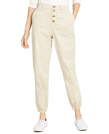 Juniors' Button-Front Jogger Pants