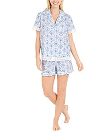 Cotton Lace-Trim Printed Pajamas Shorts Set, Created for Macy's