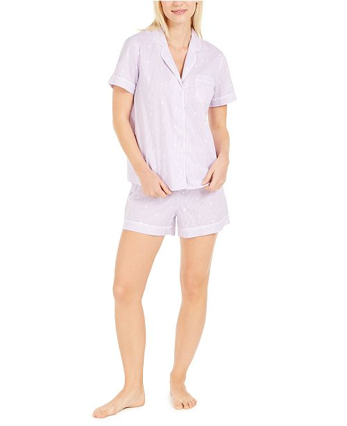 Charter Club Cotton Embroidered Stripe Shorts Pajamas Set, Created for Macy's