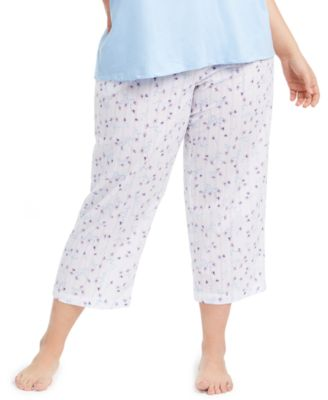 Plus Size Cotton Printed Cropped Pajamas Pants, Created for Macy's