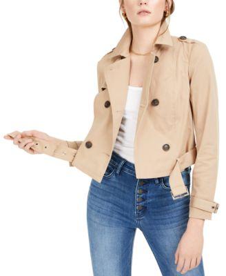 Bar III Womens Faux-Fur-Trim Quilted Anorak Bronze XL