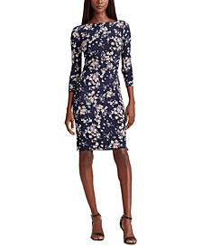 Petite Floral Ruched Jersey Dress