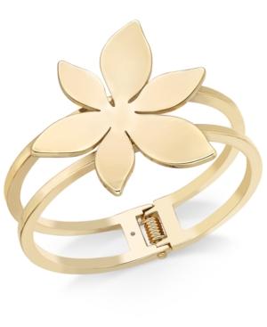 Gold-Tone Flower Double Bar Hinged Bangle Bracelet