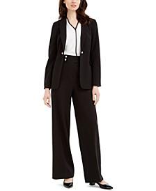 Petite Open-Front Jacket, Contrast-Trim Top & Faux-Pearl-Button Pants