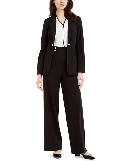 Calvin Klein Petite Open-Front Jacket, Contrast-Trim Top & Faux-Pearl-Button Pants