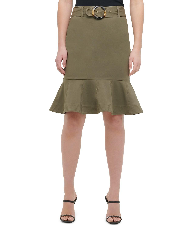 Belted Ruffle-Hem Skirt