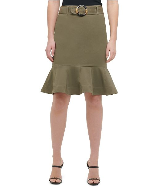 Calvin Klein Belted Ruffle-Hem Skirt