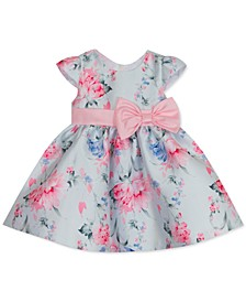 Baby Girls Floral-Print Mikado Fit & Flare Dress