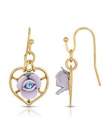 14K Gold-Dipped Heart and Porcelain Rose Earrings