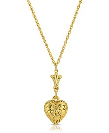 14K Gold-Dipped Textured Heart Necklace