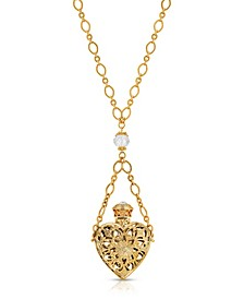 14K Gold Dipped Crystal Filigree Heart with Glass Vial Necklace