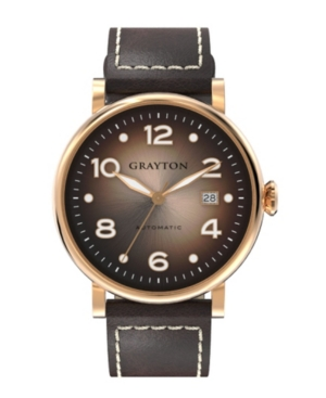 Men's Classic Collection Brown Flat-Cut Edge Leather Strap Watch 44mm