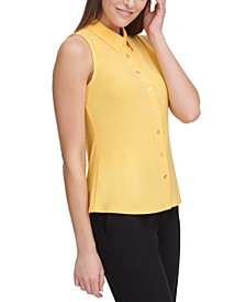 Button-Up Sleeveless Top