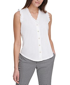 V-Neck Button-Up Sleeveless Blouse