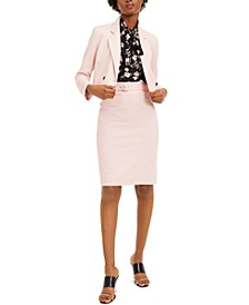 Cropped Double-Breasted Jacket With Sleeveless Floral-Print Top And Belted Pencil Skirt, Created for Macy's
