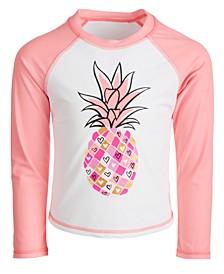 Little Girls Pineapple-Print Long-Sleeve Rash Guard