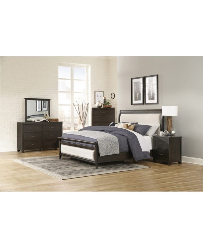 Furniture Terrace Upholstered Bed - King & Reviews - Furniture - Macy's