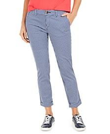 Gingham-Print Cuffed Pants
