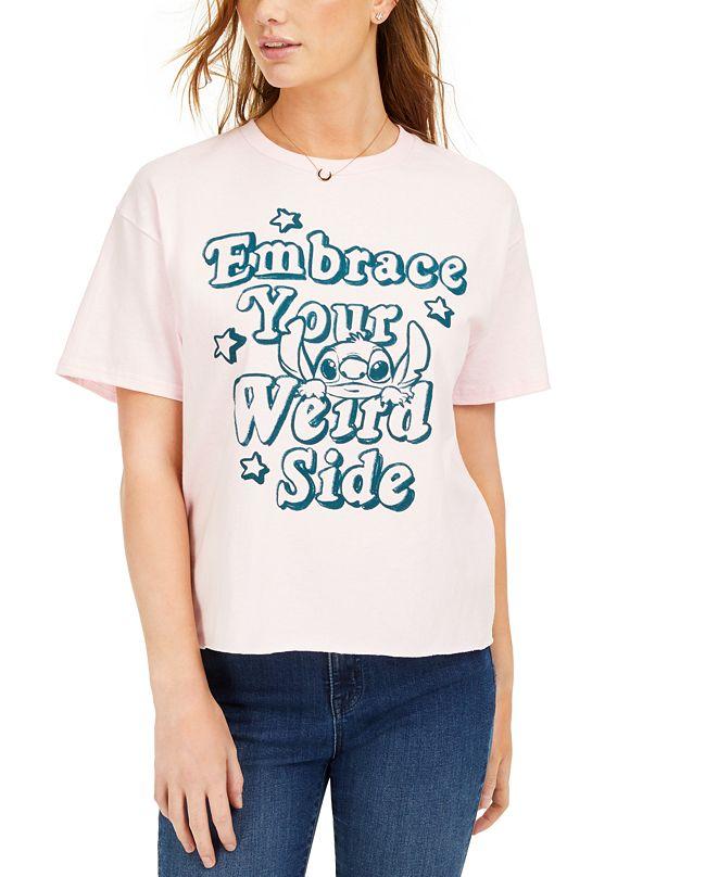 Mad Engine Juniors' Cotton Weird Side Stitch Graphic T-Shirt