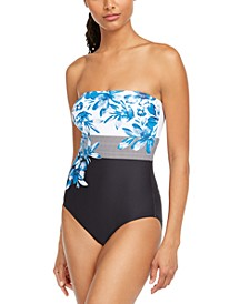 Strapless Printed Tummy Control One-Piece Swimsuit