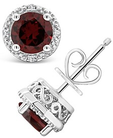Garnet (2 ct. t.w.) and Diamond Accent Stud Earrings in Sterling Silver (Also Available in White Topaz)