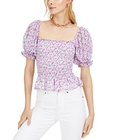 Printed Smocked Puff-Sleeve Top