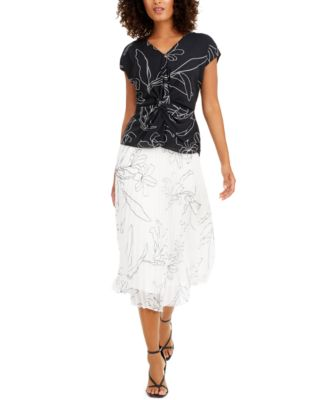 Petite Pleated Floral-Print Skirt, Created for Macy's
